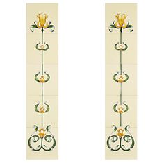 The Cast-tec Tulip tile set is comprised of two panels for either side of the fireplace. Each panel is made up of five tiles in a floral pattern rising from the stem to the flower. The Tulip is available in a honey and yellow finish. Fireplaces, Tulips, Applique, Tile, Miniature, Honey, It Cast, Flower, Yellow
