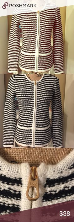 Brand New Jones New York Zip Up Sweater Brand new without tags. Great quality, thick material - black & white stripes with gold zipper Jones New York Sweaters