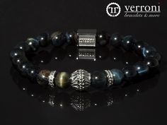 verroni Night Tiger High quality, hand selected natural blue tiger eye, and verroni designed stainless steel items. Blue Tigers Eye, Beaded Bracelets, Stainless Steel, Mens Fashion, Night, Natural, Jewelry, Design, Man Fashion