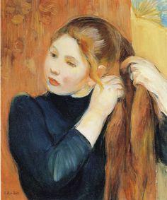 Berthe Morisot Young Girl Braiding her Hair 1893 46 x 38 cm Oil on canvas Ny Carlsberg Glyptotek, Copenhagen Illustrations, Illustration Art, Berthe Morisot, France Art, Pierre Auguste Renoir, Edouard Manet, Art Moderne, Art Graphique, Pop Art