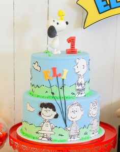 Peanuts cake from a Peanuts + Snoopy Birthday Party on Kara's Party Ideas | KarasPartyIdeas.com (39)