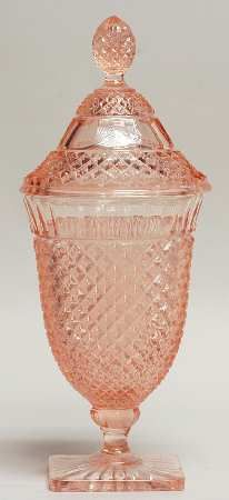 Pink Depression glass candy dish - Miss America pattern