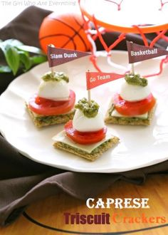 Caprese Triscuit Bites - The Girl Who Ate Everything