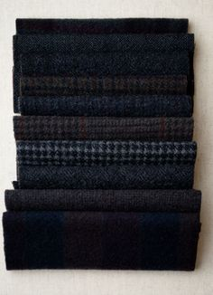Mini Textured Felted Wool Bundles from Mary Flanagan: These mini versions of Mary Flanagans's popular Textured Wool Felt Bundles are just too sweet for words!  Bundles of 10 different textured wools are all dyed together in the same dye bath. These textures coordinate beautifully when mixing them in hooked rugs, applique and quilting projects.  (Each piece measures approximately 7-inches x 8-inches. 100% hand-dyed wool.  Please note: Textures will occasionally be substituted.  These bundles…