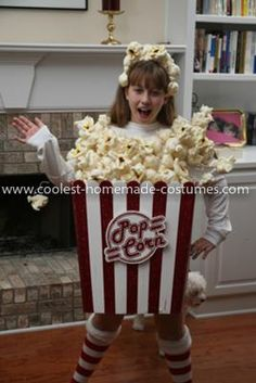 Coolest Girl's Popcorn Costume: I'd like to share with you Alexis' Coolest Popcorn Costume, a costume we made with the help of Coolest-Homemade-Costumes.com. Originally, we tried to