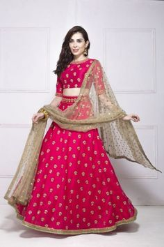 Pink and Golden Lehenga with Zari Work