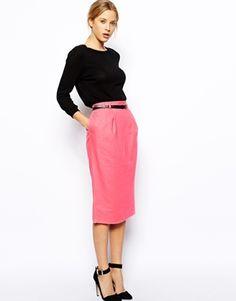 Image 1 ofASOS Linen Pencil Skirt with Belt