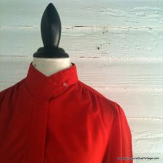 Vintage 1980s Cherry Red Blouse by runaroundsuevintage, $18.00