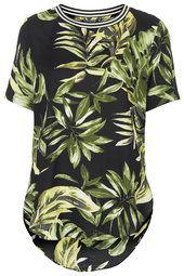 Palm Leaf Print Split Side Tee