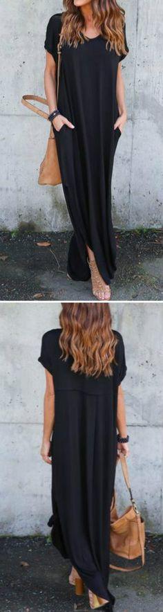 Cute long black dress.