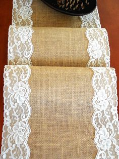 Burlap table runner with ivory lace wedding table runner rustic romantic wedding decor