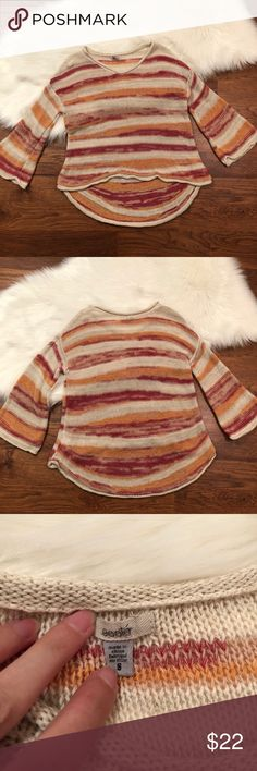 """Urban Outfitters Ecoté striped knitted sweater S Beautiful high low sweater with warm colors and flair sleeves.   Pair these with leggings and sneakers!  Measurements Bust 38"""" Waist 39"""" Length 20-27"""" Sleeve length 15.5""""  ⚜️Price doesn't work? Make an offer and look through my closet and bundle + save 10% on 2+ items with 1 shipping fee⚜️ Ecote Sweaters"""