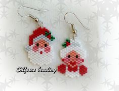Silfoxes Beading Seed Bead Crafts, Beaded Crafts, Wire Crafts, Beaded Christmas Ornaments, Christmas Earrings, Christmas Jewelry, Seed Bead Patterns, Beading Patterns, Beaded Jewelry Patterns