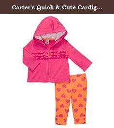 Carter's Quick & Cute Cardigan Set - Ruffles & Hearts-3 Months. Carter's Quick & Cute Cardigan Set 100% Cotton Silky Interlock - Cardigan, 100% Cotton Silky 1x1 Rib - Hood Lining & Pant .