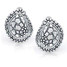 Bling Jewelry Teardrop Cobblestone Clip On Earrings 925 Sterling Silver