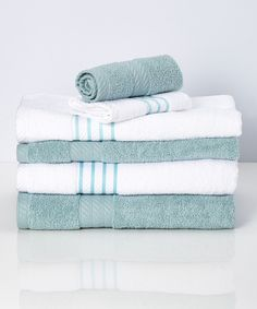This Soft Blue Stripe Quick Dry Egyptian Cotton Towel Set by Colonial Home Textiles is perfect! #zulilyfinds