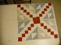 """Set of Four 12"""" Antique Quilt Blocks circa  1900"""