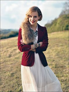 emma watson - burgundy velvet on crisp white