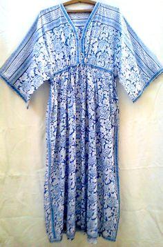 Khadiwallah - Anokhi Blue & White Porcelain Floral Block print Organic Indian cotton Long Tunic Maxi Dress