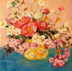 Flores en Acrilico de Carolina Costa Jungjohann - Artista Chilena