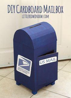 a DIY Cardboard Play Mailbox - perfect for the post office theme in preschool!Make a DIY Cardboard Play Mailbox - perfect for the post office theme in preschool! Cardboard Play, Cardboard Crafts, Cardboard Boxes, Cardboard Kitchen, Diy Karton, Diy Mailbox, Santa Mailbox, Valentine Day Boxes, Valentine Wreath