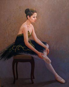 Hand-painted Figure Oil Painting - Black swan