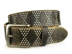 Snap on Genuine Vintage Retro Top Grain Cowhide Studded Leather Belt $55.00