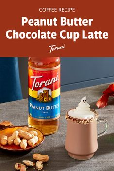 This peanut butter latte recipe uses Torani syrups and is easy to make at home. This latte recipe is the perfect combination of sweet and peanut butter! Grab our full latte recipe here! Fall Dessert Recipes, Fall Desserts, Fall Recipes, Coffee Drink Recipes, Coffee Drinks, Peanut Butter Cups, Chocolate Peanut Butter, Torani Syrup, National Coffee Day