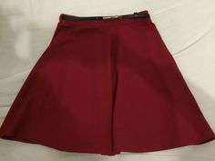 New Look Red Skater Skirt Size 8 With Belt | eBay