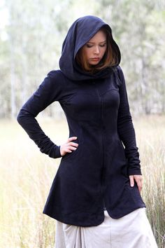 Black women hoodie long classy gorgeous silhouette with by Shovava