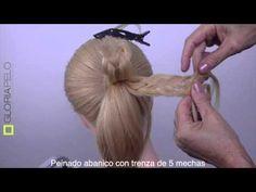 Peinado Abanico trenza 5 ( Up-do with braids, medium hair) - YouTube