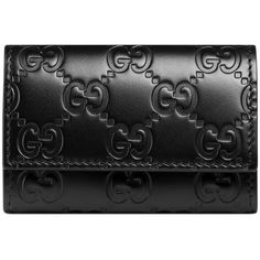 Gucci Gucci Signature Leather Key Case ($230) ❤ liked on Polyvore featuring men's fashion, men's accessories, men's key rings, accessories, black, men, wallets, wallets & small accessories, women and mens leather accessories