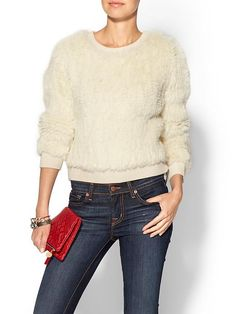 MILLY Knit Fur Sweater
