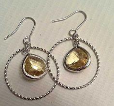 Citrine Braided Hoop Earrings Yellow Drop by TheCoralDahlia, $18.00