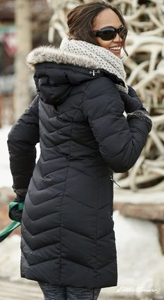 Women's Sun Valley Down Parka | 650 fill Premium Down for exceptional warmth without weight. Two-way front zipper adjusts easily when you're active or sitting.