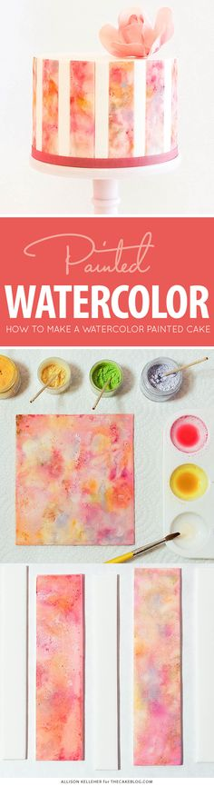 How to paint a Watercolor Cake by Allison Kelleher. Cake Decorating Techniques, Cake Decorating Tutorials, Cookie Decorating, Decorating Cakes, Cake Decorations, Fondant Cakes, Cupcake Cakes, Cupcakes, Edible Paint