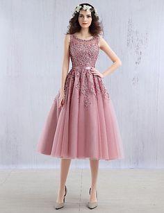 ... Knie-Länge Spitze mit Tüll-Overlay Schöner Rücken Cocktailparty    Abiball Kleid mit Perlenstickerei   Applikationen durch TS Couture®. Kleider  ... 3cc8b54223