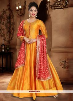 Orange Handwork Silk Readymade Designer Gown Wedding Salwar Suits, Silk Anarkali Suits, Long Anarkali, Abaya Fashion, Fashion Pants, Readymade Salwar Kameez, Orange Fashion, Yellow Fabric, Gowns Online