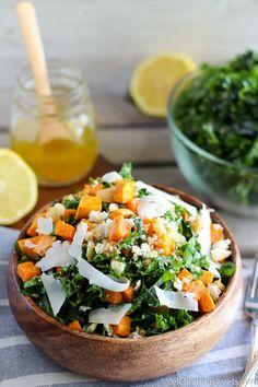Potato Salad - Shredded kale, roasted sweet potatoes, crushed croutons ...