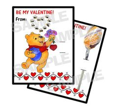 WINNIE POOH Bear personalized Valentine Cards by myhtmdesigns, $8.99