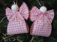 Pink Angel Ornaments U-Pick Wing Color Set of Two Pink and White Plaid Paper Ribbon Angel Tree Ornaments via Etsy Christmas Ornaments To Make, Angel Ornaments, Pink Christmas, Homemade Christmas, Christmas Angels, Christmas Holidays, Christmas Decorations, Christmas Ribbon, Birthday Decorations