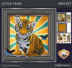 Little Tiger on Craftsuprint designed by Isabel Neves - Little Tiger - Mini Kit Includes: Card Front, Mini Print