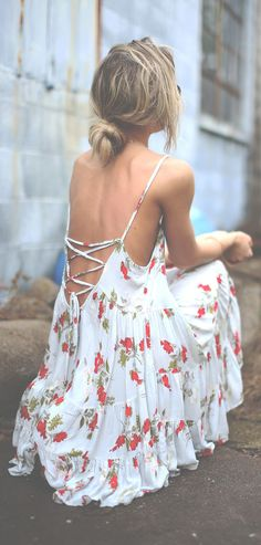 Lace up Print Dress.