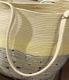 Coiled rope bag, navy blue base w/yellow band & natural rope, by Andrea Shown @ Crawford Gallery of Fine Art