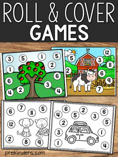 Math games 305611524710008600 - Roll and cover games are easy prep games that help children practice math concepts, such as numeral recognition, counting, and addition. Source by aprylkuhn Easy Math Games, Kindergarten Math Games, Math Activities, Dice Games, Teaching Math, Maths, Math Math, Math Fractions, Preschool Learning