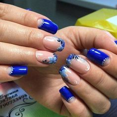 french nails for wedding Awesome Ombre Nail Designs, Diy Nail Designs, Cute Toe Nails, Diy Nails, Green Nails, Blue Nails, French Nails, Gorgeous Nails, Pretty Nails