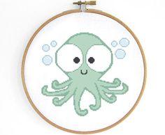 Cute Octopus Cross Stitch Pattern por Crosslings en Etsy