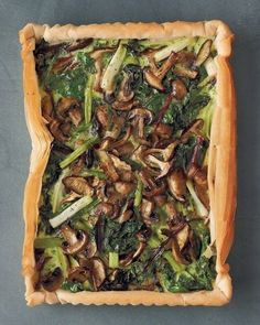 Mushroom, Spinach and Scallion Tart | 22 Delicious Meatless Mains To Make For Thanksgiving