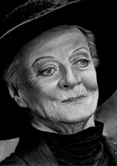 Pencil Artist Corinne's Portraits (French) | Maggie SMITH ( as Minerva McGONAGALL) by Corinne