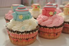 Teapot & Teacup Cupcakes Toppers available for purchase on www.sugarcraftbyrosie.com.au